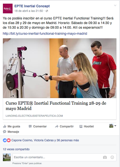 Entrada de Facebook con la nueva formación EPTe Inertial Functional Training con EPTE Inertial Concept