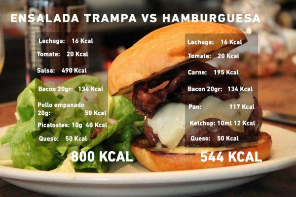 Ensalada trampa vs hamburguesa