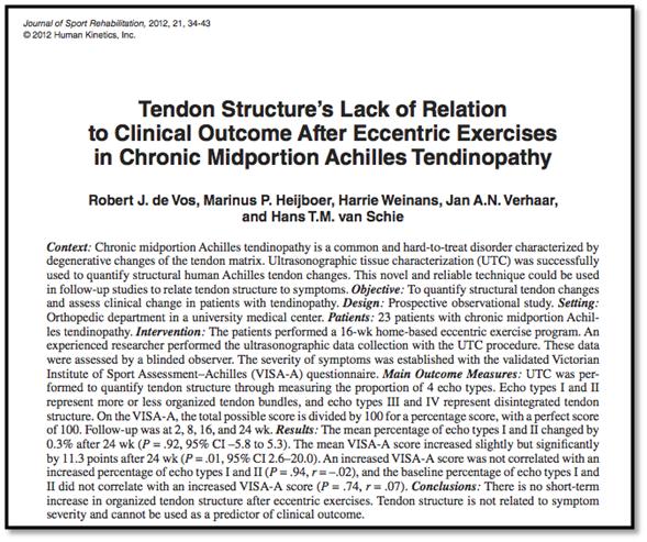 Falta relación estructura tendón resultado clínico después de ejercicios excéntricos en la tendinitis de Aquiles