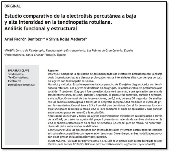 Estudio comparativo electrolisis percutánea baja y alta intensidad