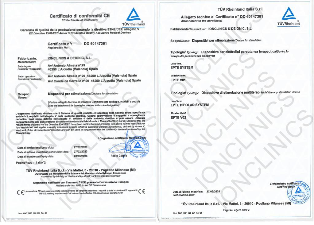 CE Sanitario Productos propios Ionclinics Marca EPTE®